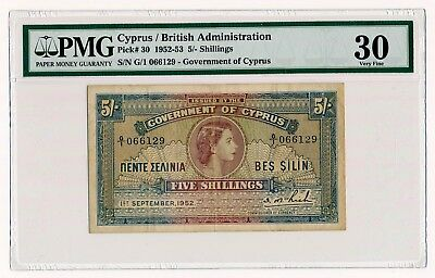 1952 Cyprus British Admin. 5 Shillings Note P. 30 QEII  PMG VF 30 Scarce Note