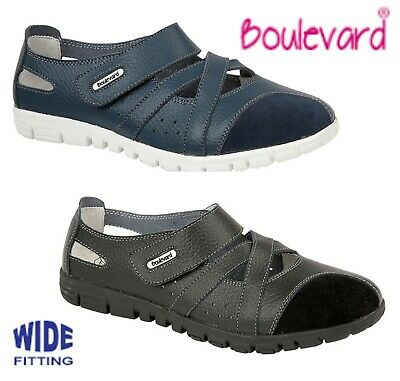 LADIES Leather Wide EEE Fit Summer Casual Shoes - Black Navy  Size 3 4 5 6 7 8 9
