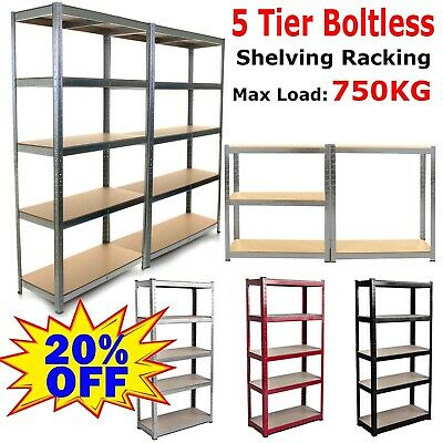 Heavy Duty 5 Tier Shelf Shelving Garage Storage Racking Shed Office 150Cm 180Cm