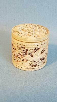 Beautifully & Intricately Carved 19th Century Chinese Bone Patch or Pill Box