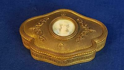 Exquisite Antique C19th French Ormolu Jewellery Box w Signed H/P Miniature