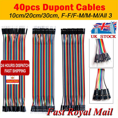 40 Pin Dupont Wire Line Ribbon Jumper Cable Breadboard Arduino MF,MM,FF,10-30cm