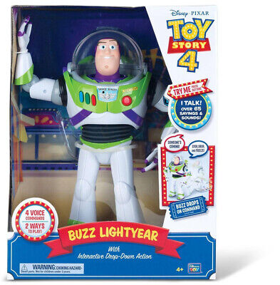 Disney Pixar Toy Story 4 Buzz Lightyear with Interactive Drop-Down Action Gift