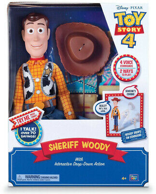 Disney Pixar Toy Story 4 Sheriff Woody with Interactive Drop-Down Action Gift
