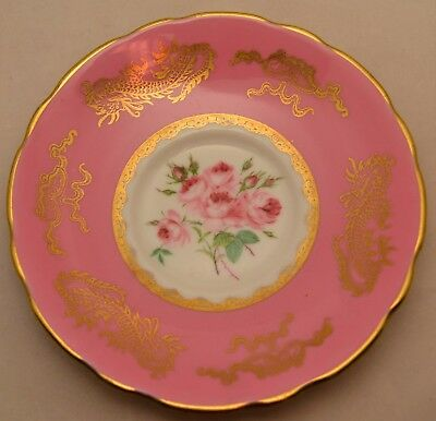 Royal Stafford Pink Roses and Gold Gilt Dragons Pattern Saucer 14cm Hand Painted