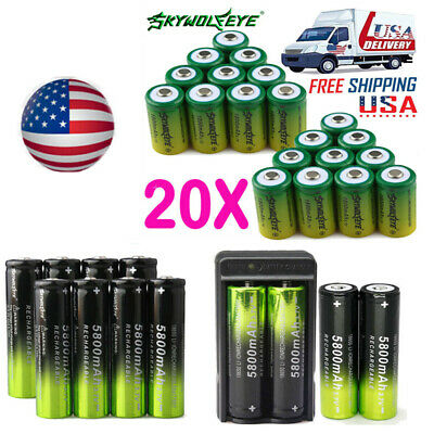20* SKYWOLFEYE 18650 3.7v 6000mah 5800mah Li-ion Rechargeable Battery&Charger