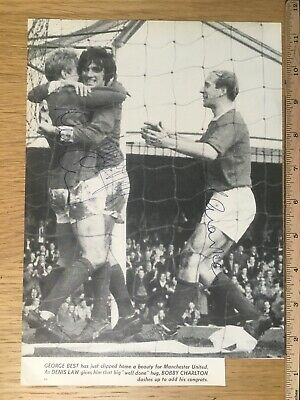 Denis Law George Best Bobby Charlton signed photo Manchester United autographs