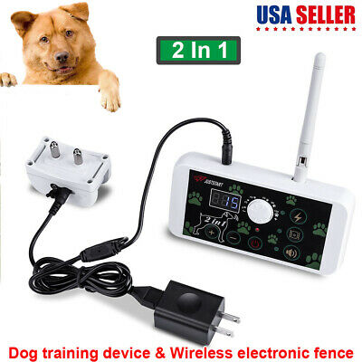 No-Wire 2-in-1 Dog Fence Wireless Waterproof Pet Containment System Rechargeable
