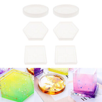 6pcs Mixed epoxy resin molds for diy coasters silicone jewelry making mould