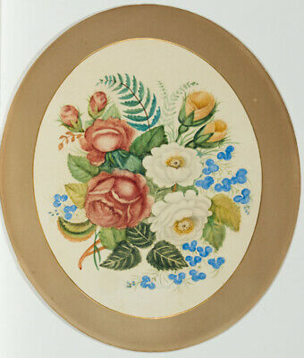 Oval Early 20th Century Watercolour - Floral Assortment