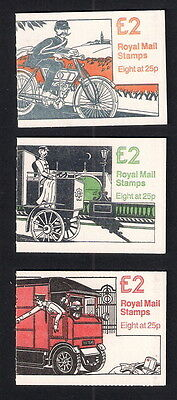 GB 1993 Folded £2 Booklets - Postal Vehicles Series, FW1, FW2 and FW3