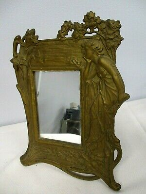 ANTIQUE METAL ART NOUVEAU STANDING FRAME with LOVELY LADY, IVY & FLOWERS 11 1/2""