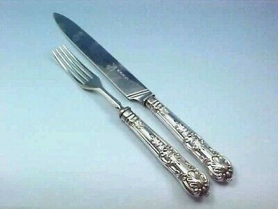 1839 Queens Pattern Sterling Silver Serving Fork & Matching Knife Armorial Crest