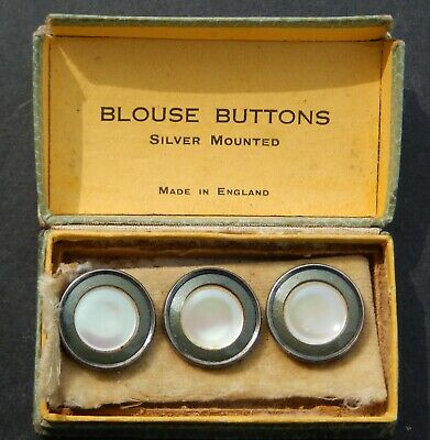 Set of 3 Vintage Art Deco Silver Mounted Enamel & Mother of Pearl Buttons