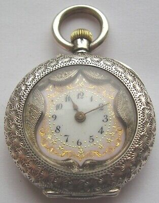 ANTIQUE SILVER POCKET WATCH PRETTY PINK DIAL LADIES FOB WATCH VICTORIAN c 1890
