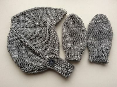 Hand Knitted Baby Hat / Helmet & Mitts - Birth To 3 Month Light Grey