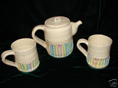 Vintage Handcrafted Clay Pottery Tea Pot with 2 Mugs by artist well designed