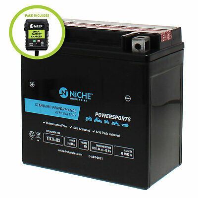 NICHE AGM Battery w/charger for YTX14-BS fits Honda ATC125M, ATC250SX