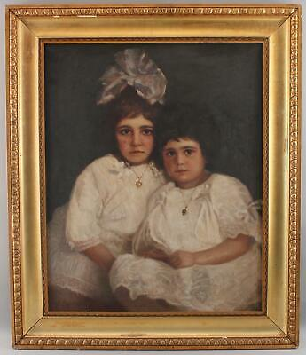 Antique Authentic HARRY SPIERS American Portrait Oil Painting Sisters w/ Lockets