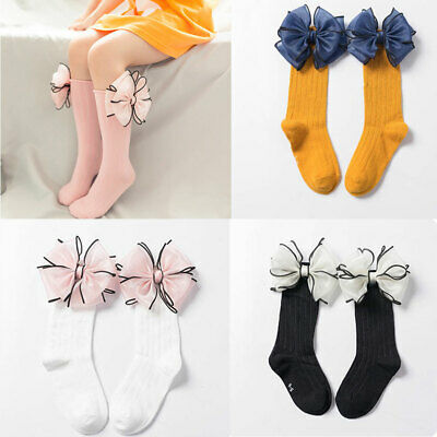 Leg Warmers  Cotton Candy Color High Knee Sock Big Bow Long Socks Baby Sock