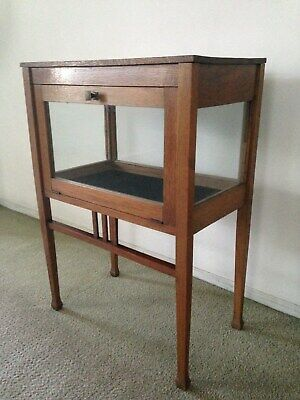 """Mission Style Small Oak Curio Display Cabinet With Drop Down Glass Door 29"""" Tall"""