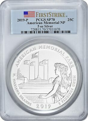 2019-P 5oz. American Memorial Park ATB Silver Quarter SP70 First Strike PCGS