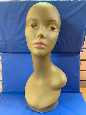"Female Plastic Mannequin Head Model Wig Glasses Hat Display Stand 18"" Used"