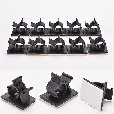 Lot 10pcs Cable Clips Adhesive Cord Management Black Wire Holder Organizer Clamp