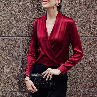 Sexy Womens Satin Glossy V-Neck Stylish Party Shirts Long Sleeve Blouse Tops lc0