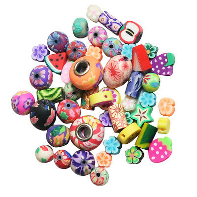 50x DIY Jewelry Findings Polymer Clay Beads Fruit Pieces  Slices 10mm