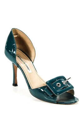 6af68437f7c27 Manolo Blahnik Womens Open Toe Pumps Heels Blue Patent Buckle Size 35.5 5.5