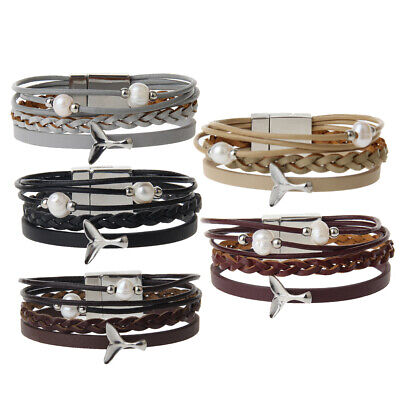 Fashion Multilayer Leather Bracelets Faux Pearl Charm Beads With Magnetic Clasp