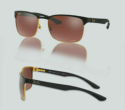 84104b3892 AUTHENTIC RAY BAN 0RB 8319CH 9076K9 GOLD TOP ON MATTE BLACK Polarized  Sunglasses