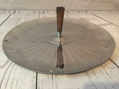 Mid Century Modern Chrome Frosted Design Center Teak Handle  Serving Dish Tray