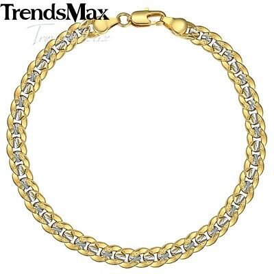 Silver&Yellow Gold Filled Chain Hammered Cut Curb Cuban Bracelet Women Men 8inch