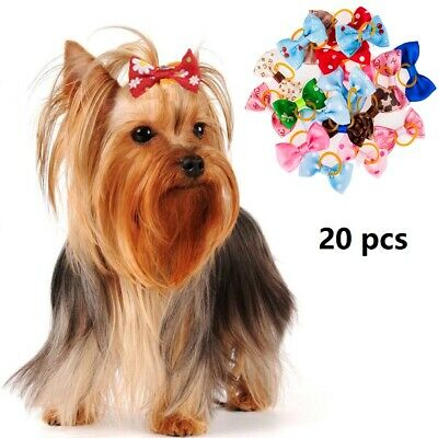 20Pcs Assorted Hair Bows Dog Cat Pet Bowknots Grooming Accessory Puppy Grooming