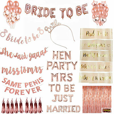 Hen Party Sashes Rose Gold Bride To Be Bridemaid Balloons Sash Hen Do Girls Out