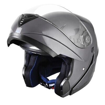 S M L XL Flip Up Front Modular Motorcycle Helmet Full/Open Face Motorbike Grey