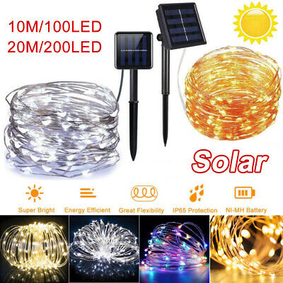 Solar Power 10M/20M LED String Rope Fairy Lights Garden Party Outdoor Yard Lamp