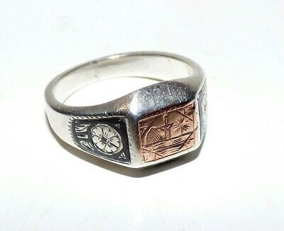 Vintage Art Deco Niello Silver Signet Ring Turkish Ottoman 1920'S Mosque Trees