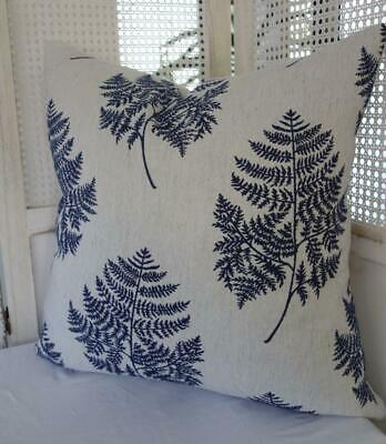 60cm Hamptons Blue Rainforest Fern Embroidery Brocade Cushion Cover