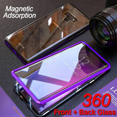 Front Back Double Glass Metal Magnetic Case For Samsung Galaxy S10 Plus S9 Note9