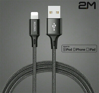 2M UNBREAKABLE Vinston iPhone X XS XR 8 7 6 5 USB Charger Data Charging Cable BK