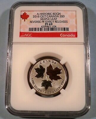 2016 Canada Gold Gilt Silver Maple Leaf Ngc Pr 69 S$3 1/4 Oz Reverse Proof