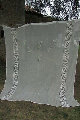 Vintage French HUGE Lace Mesh Cotton Crochet Curtain Drape c1920s 7ft Drop