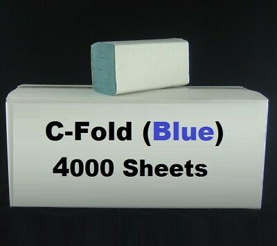 C Fold Paper Hand Towel Blue 1 ply 4000 Sheets Tissues Multi Fold Interfold