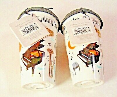 The Leonardo Collection TEA-COFFEE  MUSICAL INSTRUMENTS PRINT CUPS WITH LIDS