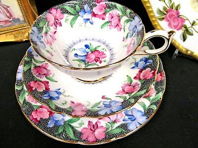 PARAGON tea cup and saucer trio SWEET PEA pattern teacup wide mouth floral