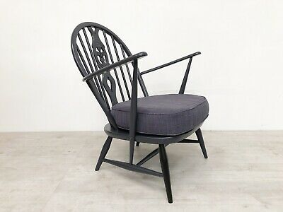Vintage Ercol Mid Century Hand Painted Lounge Chair Reupholstered With Accents