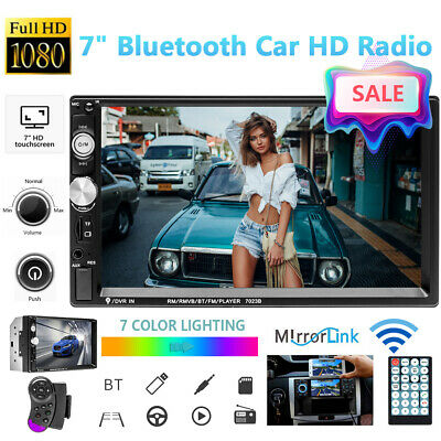 """Bluetooth Car Stereo Radio 2 DIN 7"""" HD MP5 FM Player Touch Screen Remote Control"""